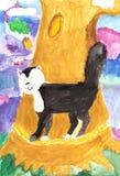 Teckning av en katt från en saga Arkivfoton