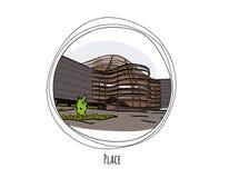 Teckning av en modern byggnad inom en cirkel med text Royaltyfria Foton