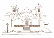 Teckning av en religiös byggnad Arkivfoton