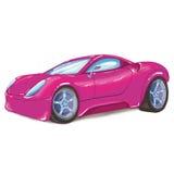 Teckning av en rosa modern sportbil, på vit bakgrund Arkivfoto