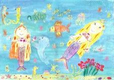 Teckning av en sjöjungfru Royaltyfri Bild
