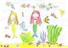 Teckning av en sjöjungfru, fisk, sköldpadda, sjöstjärna Royaltyfri Bild