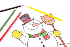 Teckning av en snögubbe Arkivbilder