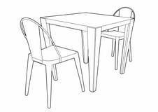 Teckning av en tabell och två stolar Fotografering för Bildbyråer