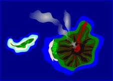 Teckning av en vulkanisk ö Royaltyfria Bilder