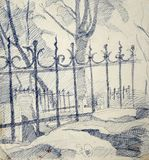 Teckning av ett metalliskt staket Royaltyfria Foton