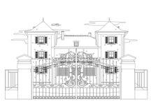 Teckning av ett mycket trevligt hus Royaltyfri Foto