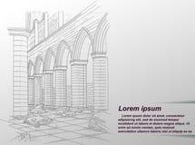 Teckning av förstörd byggnad royaltyfri illustrationer