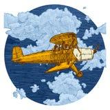 Teckning av flygplanet som stiliseras som gravyr Arkivbild