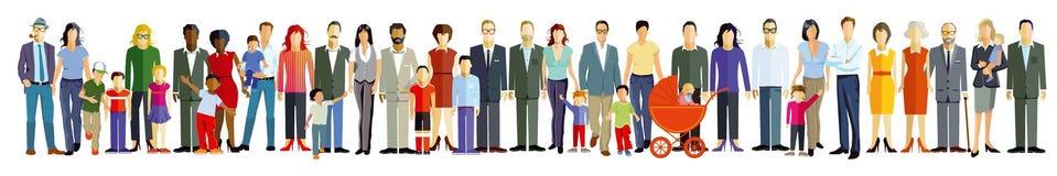 Teckning av folk i linje Royaltyfria Bilder