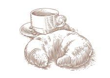 Teckning av gifflet och kaffe arkivbilder