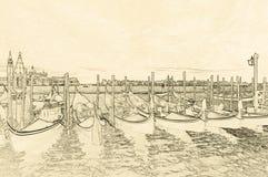 Teckning av gondoler i Venedig Arkivbild