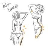 Teckning av härliga flickor som bär bikinin Royaltyfria Bilder