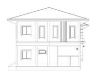 Teckning av hem- byggnad 3D & x28; sidoview& x29; Arkivfoton