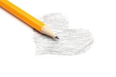 Teckning av hjärta och blyertspennan Fotografering för Bildbyråer