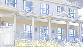 Teckning av huset som panorerar för att avslöja det till salu tecknet och färdigt hem royaltyfri illustrationer