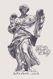 Teckning av marmorstatyn av ängeln från Sant'Angeloen Bridge in royaltyfri illustrationer