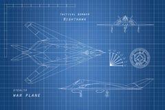 Teckning av militärt flygplan Överkant, sida och främre sikter nivån kriger royaltyfri illustrationer