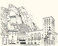 Teckning av Montserrat Monastery royaltyfri illustrationer