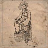 Teckning av sammanträdecowboyen vektor illustrationer