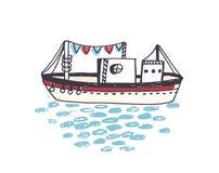 Teckning av skeppet, färjan eller färjan med masten som svävar på havvågor Marin- skyttel eller yacht i havsresan, tur eller stock illustrationer