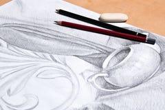 Teckning av stilleben vid grafitblyertspennan Fotografering för Bildbyråer