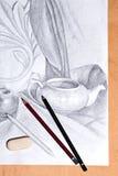 Teckning av stilleben vid grafitblyertspennan Royaltyfria Bilder