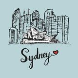 Teckning av Sydney operabyggnad royaltyfri illustrationer