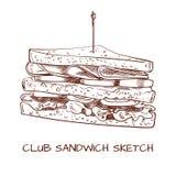 Teckning för översikt för klubbasmörgås Vektorn skissar svarta linjer vektor illustrationer