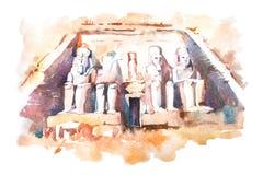 Teckning för Abu Simbel tempelvattenfärg, Egypten Den stora templet av Ramesses II aquarellemålning Royaltyfria Foton