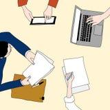 Teckning för affärsmöte i färg royaltyfri illustrationer