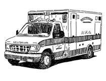 Teckning för ambulansbilvektor stock illustrationer