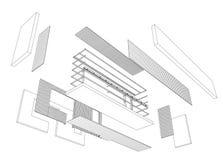Teckning för arkitekt 3d av balkongen stock illustrationer