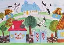 Teckning för barn` s av ett familjhus Arkivbilder
