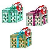 Teckning för barn` s av Santa Claus med en gåva royaltyfri illustrationer