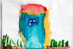 Teckning för barn` s och bästa sikt för färgblyertspennor royaltyfri illustrationer