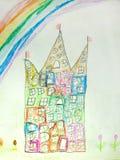 Teckning för barn` som s visar huset Arkivfoto