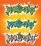 Teckning för design för marijuanagrafittitext Arkivfoton