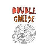 Teckning för dubbel ost för pizza frihandsmed utdragen text för hand Illustration f?r klotterstilvektor stock illustrationer