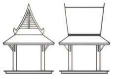 teckning för evelation 3D av den sydostliga asiatiska paviljongen eller templet i f Arkivfoton