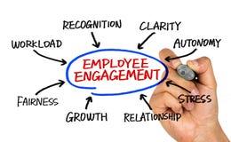 Teckning för hand för anställdkopplingsdiagram på whiteboard arkivbild