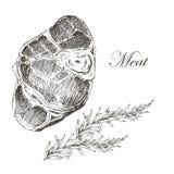 Teckning för hand för vektorbiffkött med peppar och stock illustrationer