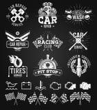 Teckning för krita för för för bilserviceetiketter, emblem och logoer Royaltyfri Fotografi