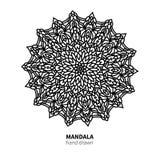 Teckning för Mandalablommavektor Dekorativ bohorundaprydnad stock illustrationer