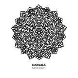 Teckning för Mandalablommavektor Dekorativ bohorundaprydnad vektor illustrationer