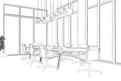 Teckning för rum för konferens för inredesign beställnings- vektor illustrationer