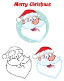 Teckning för Santa Claus Face Classic Cartoon Mascot teckenhand Samling stock illustrationer