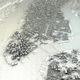 Teckning för sikt för New York översikt satellit- Arkivbild