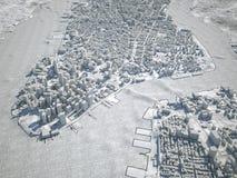 Teckning för sikt för New York översikt satellit- Royaltyfria Bilder