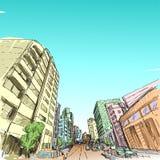 Teckning för stadsscapefria händer, Hanoi stad, illustration vektor illustrationer